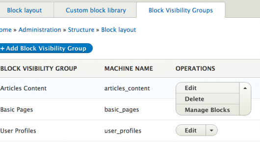 Module block visibility groups